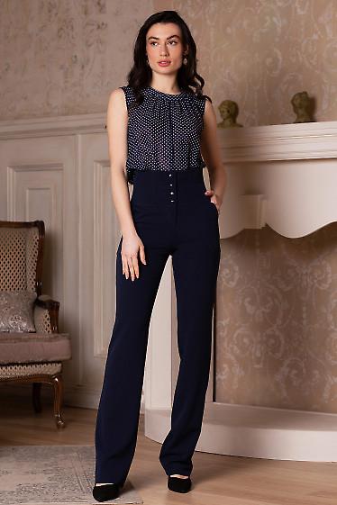 Купить брюки синие с высокой посадкой. Деловая женская одежда фото