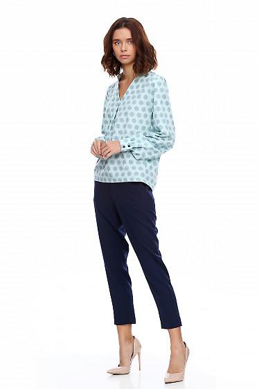 Купить брюки синие укорочённые на резинке. Деловая женская одежда фото