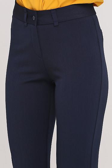 Брюки теплые синие с высокой посадкой Деловая женская одежда фото