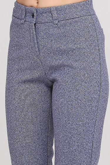 Брюки теплые в синюю полоску Деловая женская одежда фото