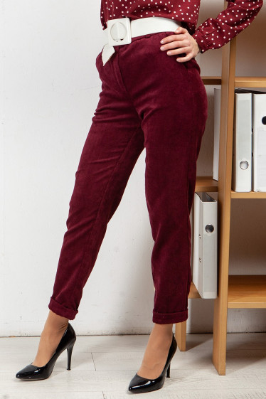 Купить брюки вельветовые цвета фуксия. Деловая женская одежда фото