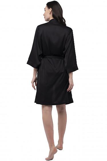 Черный шелковый халат на запах