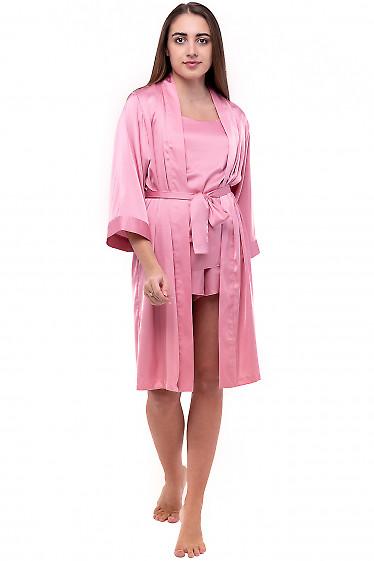 Халат женский шелковый розовый. Деловая женская одежда