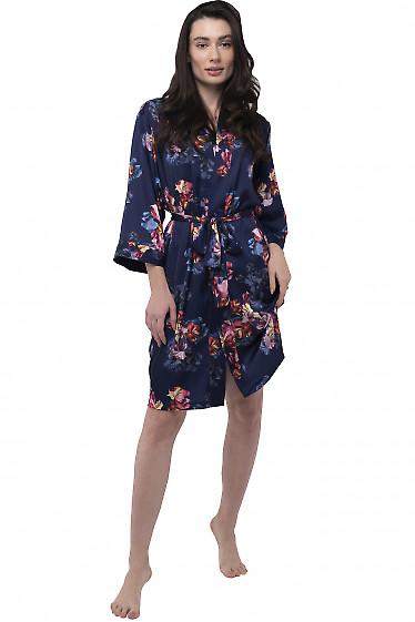 Халат женский в цветы синий. Деловая женская одежда фото