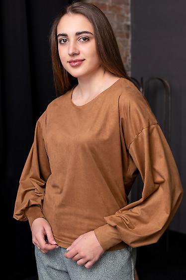 Кофта замшевая коричневая с пышным рукавом. Деловая женская одежда