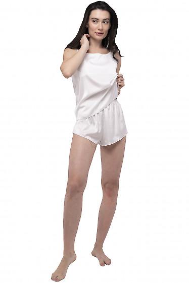 Пижама на тонких бретелях молочная