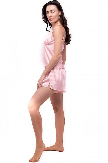 Женская персиковая пижама с завязками на груди