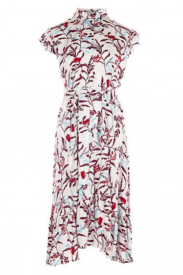 Платье белое в бордовые листики. Деловая женская одежда фото