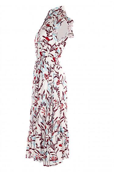 Купить белое летнее платье в цветы. Деловая женская одежда фото