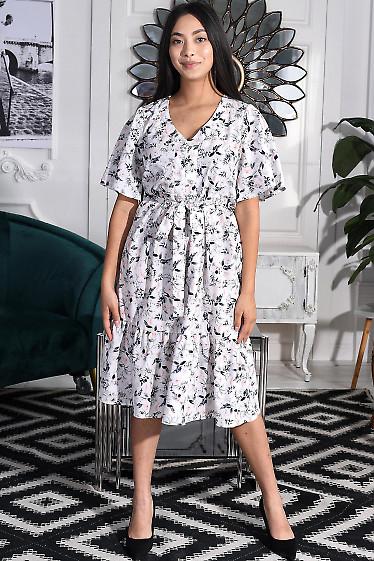 Платье белое в сине-розовый цветок. Деловая женская одежда