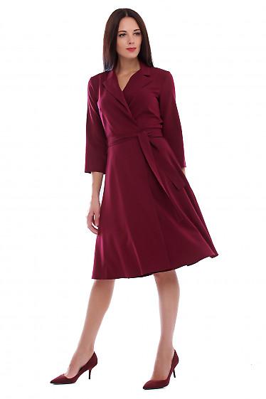 Платье бордовое на запах. Деловая женская одежда фото