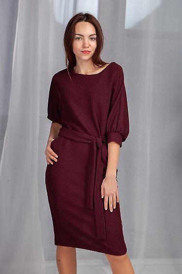Платье бордовое с юбкой карандаш. Деловая женская одежда фото