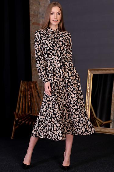 Платье черное в бежевый цветок. Деловая женская одежда