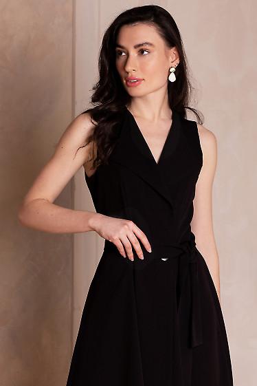 Купить платье чёрное на запах с воротником. Деловая женская одежда фото
