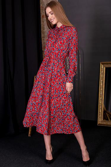 Платье женское красное в цветочный принт