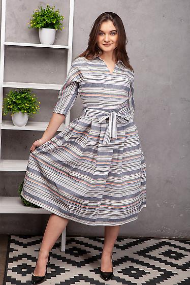 Купить платье льняное серое в полоску. Деловая женская одежда фото