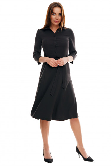 Купить черное платье миди. Деловая женская одежда фото