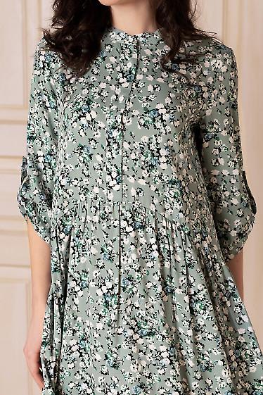 Купить платье мятное в цветы с оборкой. Деловая женская одежда фото