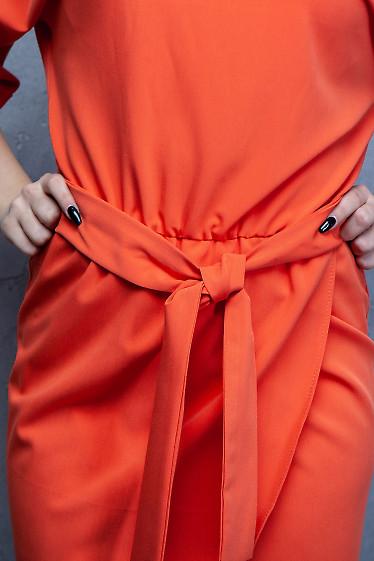 Купить оранжевое платье с юбкой на запах. Деловая женская одежда фото