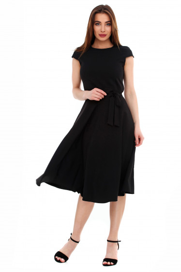 Платье пышное черное с поясом. Деловая женская одежда