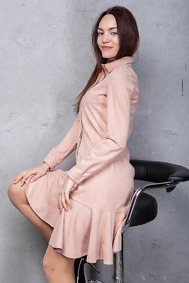 Купить платье розовое из замша с оборкой. Деловая женская одежда фото