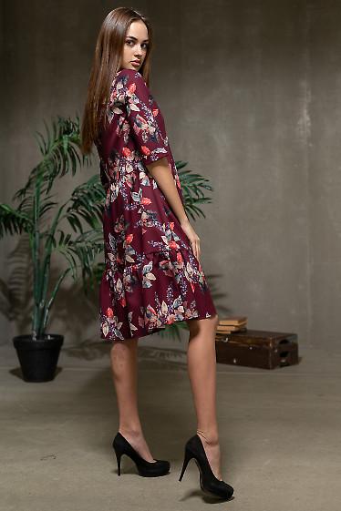 Бордовое платье в цветочный принт фото