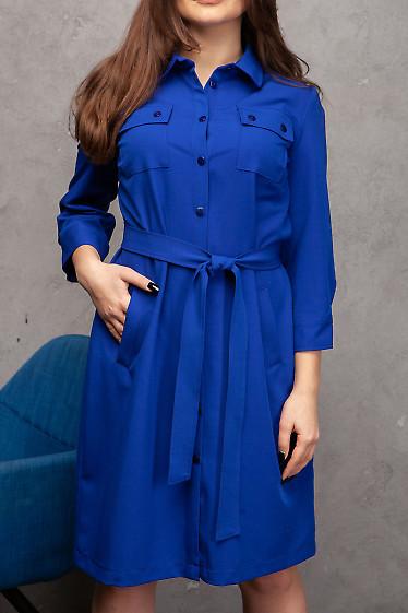 Платье сафари электрик. Деловая женская одежда фото