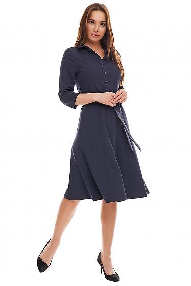 Платье синее с длинным рукавом. Деловая женская одежда фото