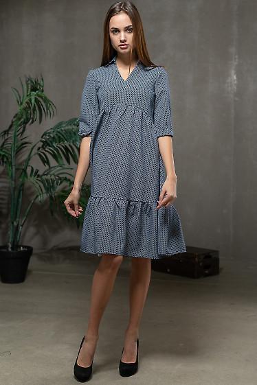 Платье синее с оборками. Деловая женская одежда фото