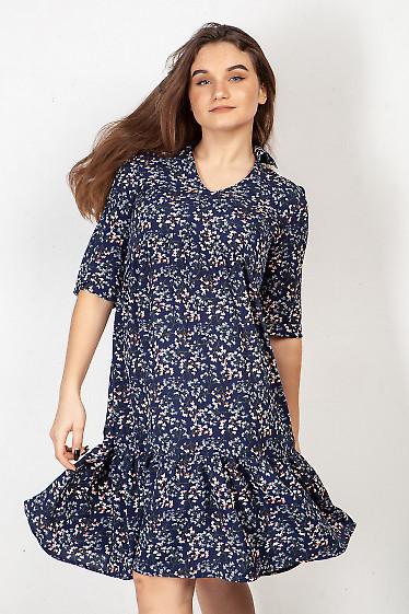 Платье синее с оборкой в цветок. Деловая женская одежда фото