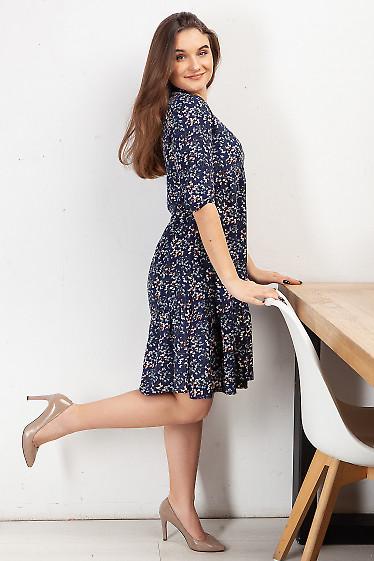 Купить платье синее с оборкой в цветок. Деловая женская одежда фото