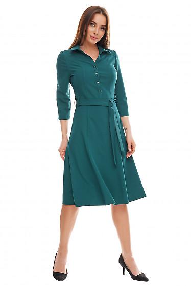 Платье зеленое с пуговицами впереди Деловая женская одежда фото