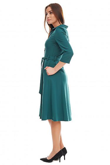 Купить платье зеленое с пуговицами впереди. Деловая женская одежда фото