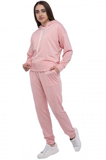 Розовый спортивный костюм с капюшоном