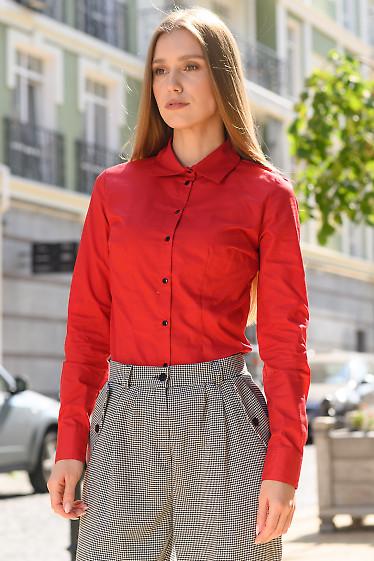 Рубашка женская классическая малиновая. Деловая одежда