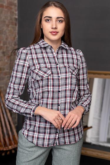 Рубашка женская в серую клетку. Деловая женская одежда
