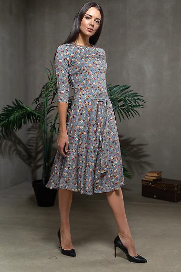 Синее платье в коричневый цветок. Деловая женская одежда