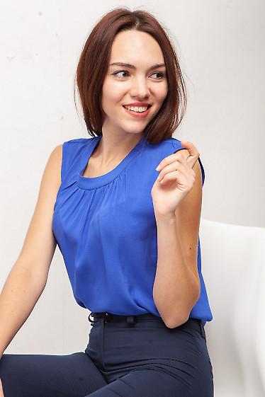Топ из синего штапеля. Деловая женская одежда фото