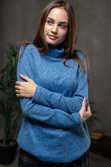 Туника синяя с высоким двойным воротом. Деловая одежда