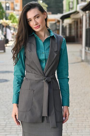 Удлиненный серый жилет. Деловая женская одежда