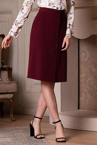 Юбка бордовая на пуговицах. Деловая женская одежда фото