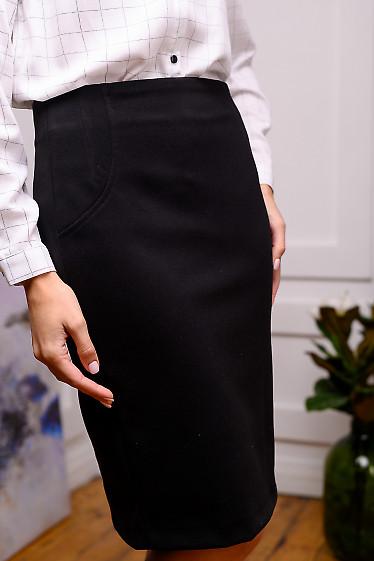 Черная шерстяная юбка-карандаш фото