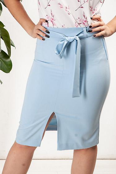 Юбка голубая с поясом. Деловая женская одежда фото