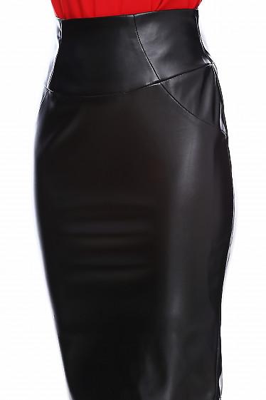 Купить черную юбку-карандаш под кожу. Деловая женская одежда фото