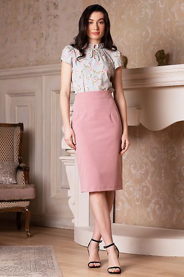 Розовая юбка-карандаш из костюмной ткани