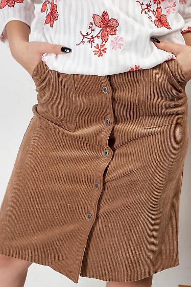 Юбка на пуговицах из вельвета. Деловая женская одежда фото