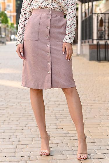 Юбка розовая тёплая на пуговицах. Деловая женская одежда