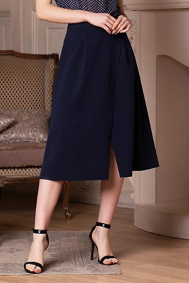 Купить юбку синюю на запах. Деловая женская одежда фото