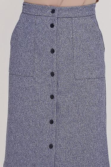 Юбка в мелкую синюю полосочку Деловая женская одежда фото