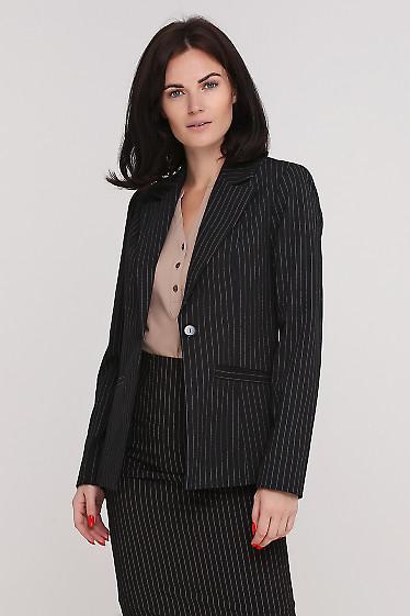 Жакет черный в полоску удлиненный Деловая женская одежда фото